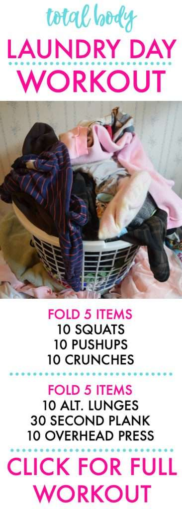 Laundry day full body workout. This workout will kill your upper body, tone your lower body, and get your cardio done if you do it right!