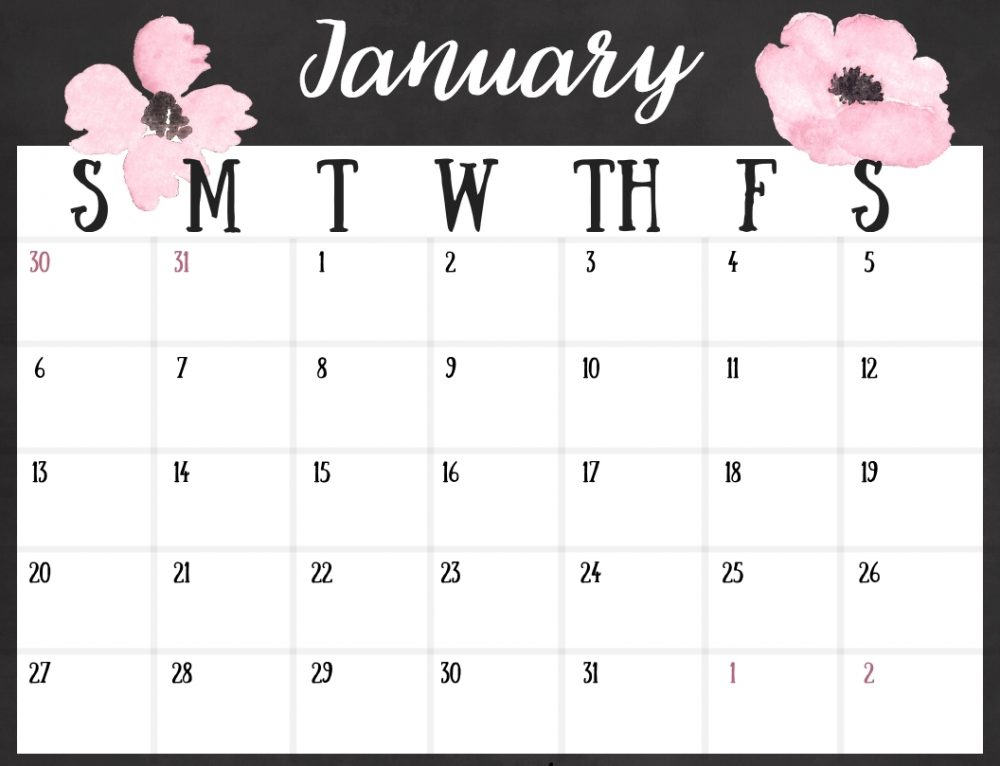 Free 2019 Calendar – Printable Instant Download