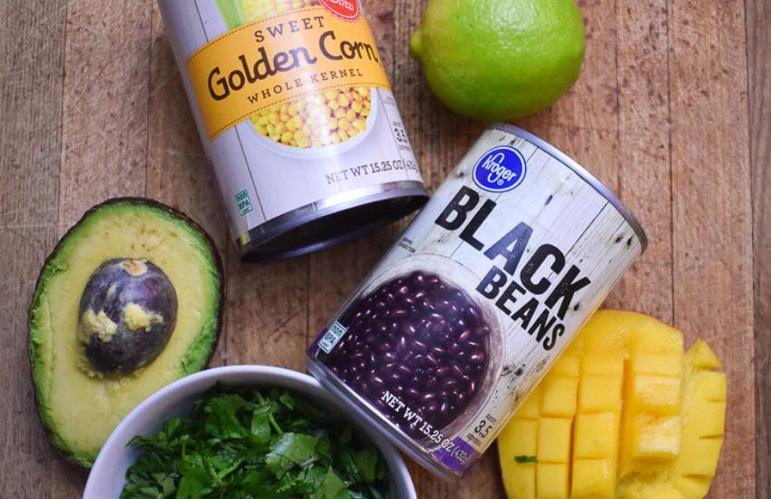 Ingredients for my mango corn black bean salsa
